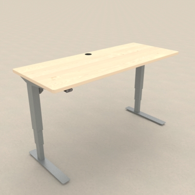 Electric Adjustable Desk | 150x60 cm | Maple with silver frame