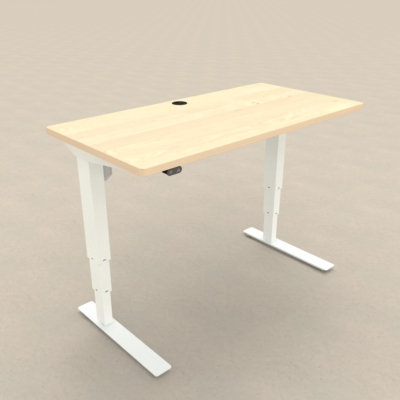 Electric Adjustable Desk | 120x60 cm | Maple with white frame